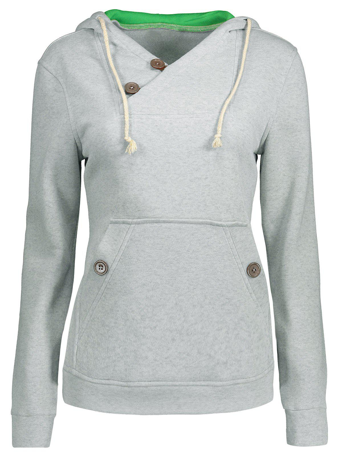 Outfit Drawstring Buttoned Slim Hoodie