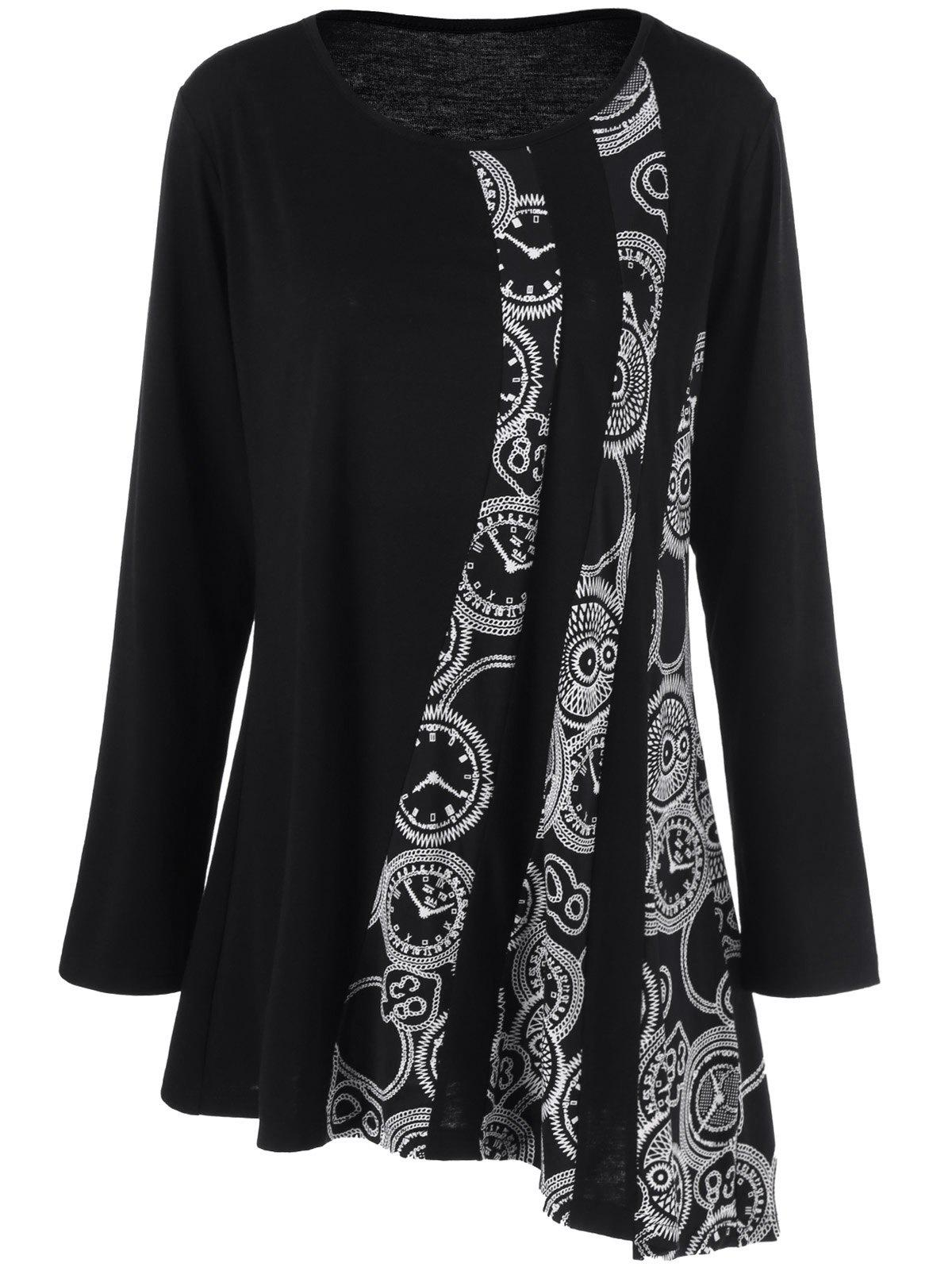 Plus Size Printed Asymmetric Tunic T-ShirtWOMEN<br><br>Size: 3XL; Color: BLACK; Material: Polyester,Spandex; Shirt Length: Long; Sleeve Length: Full; Collar: Scoop Neck; Style: Fashion; Season: Fall,Spring; Pattern Type: Print; Weight: 0.3200kg; Package Contents: 1 x T-Shirt;