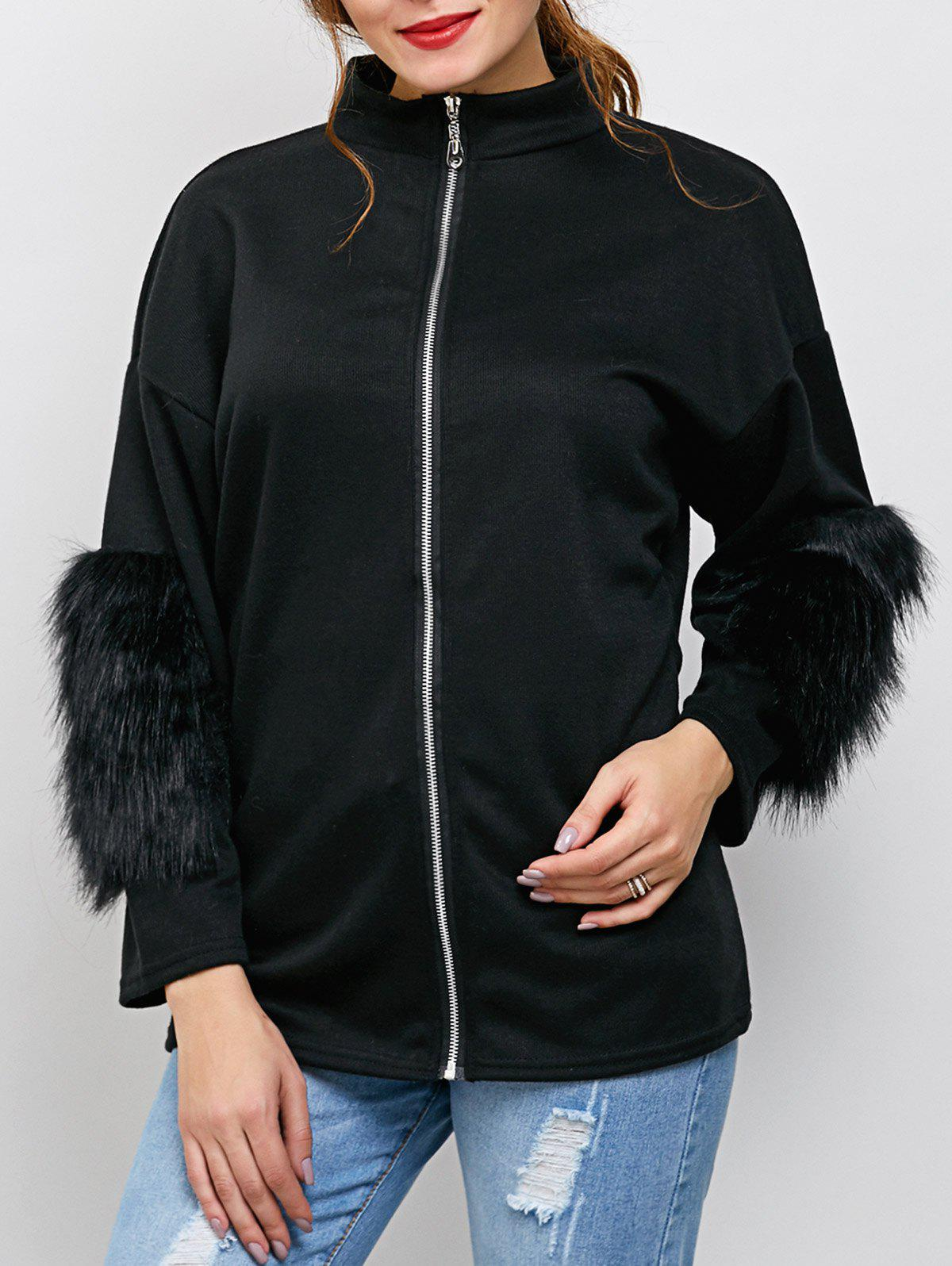 Online Zipper Faux Fur Drop Shoulder Jacket