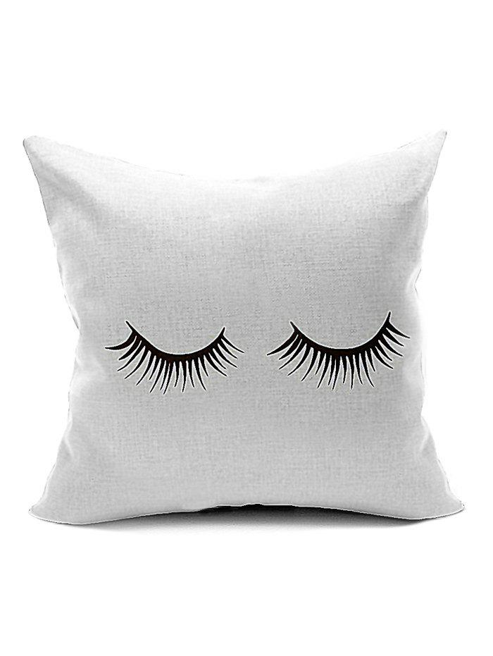 Concise Eyelash Pattern Throw Cover Pillow CaseHOME<br><br>Color: WHITE; Material: Polyester / Cotton; Fabric Type: Velboa; Pattern: Printed; Style: Modern/Contemporary; Shape: Square; Size(CM): 45*45; Weight: 0.140kg; Package Contents: 1 x Pillow Case;