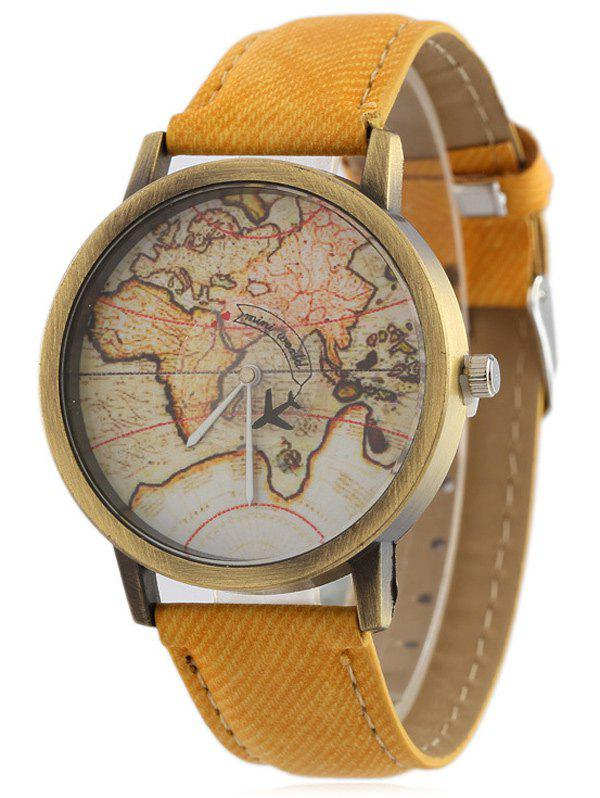 Online Faux Leather Map Quartz Watch