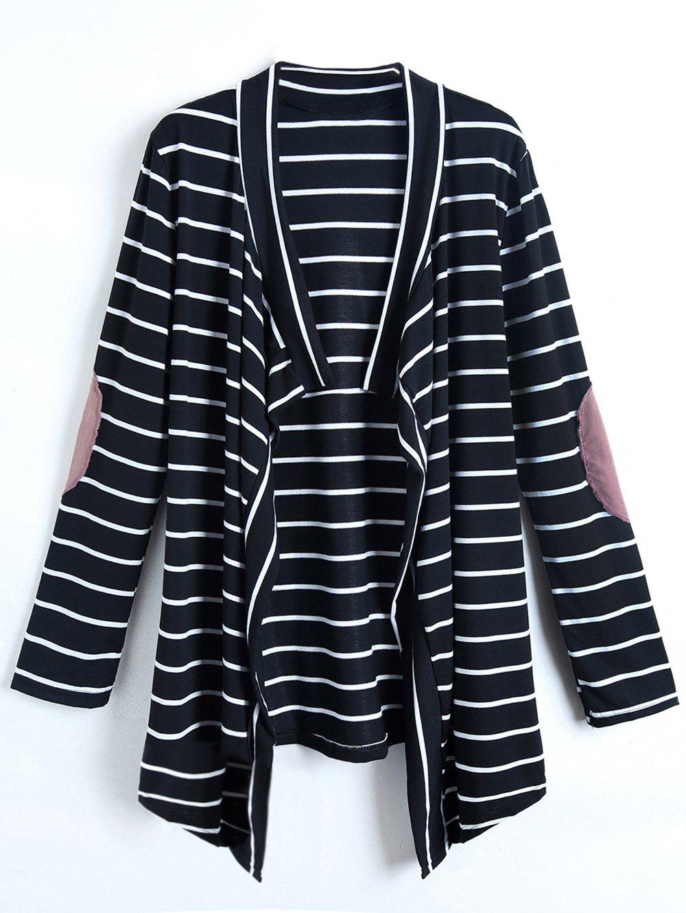 Buy Casual Collarless Striped Long Sleeve Cardigan For Women