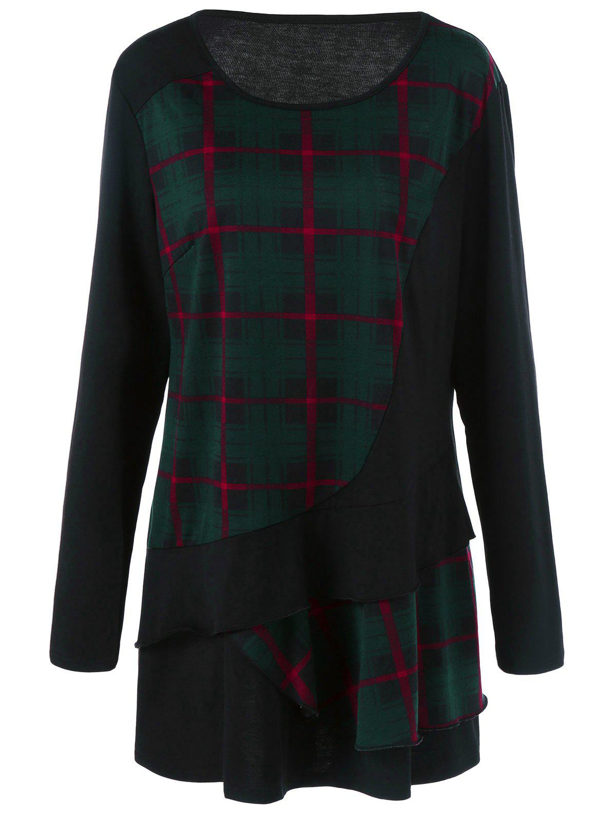 Fashion Plus Size Plaid Trim Overlay Long Sleeve T-Shirt