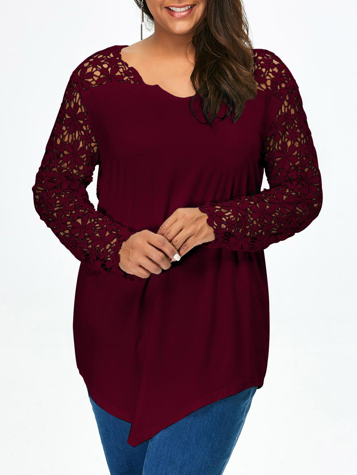 Lace Panel Plus Size Long Sleeve Tunic T ShirtWOMEN<br><br>Size: 2XL; Color: WINE RED; Material: Cotton Blends,Polyester,Spandex; Shirt Length: Long; Sleeve Length: Full; Collar: V-Neck; Style: Fashion; Season: Fall,Spring; Embellishment: Lace; Pattern Type: Others; Weight: 0.320kg; Package Contents: 1 x T-Shirt;