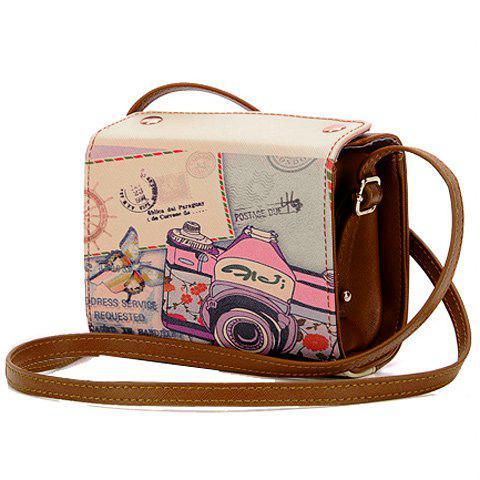 Affordable Sweet Camera Print and PU Leather Design Women's Crossbody Bag