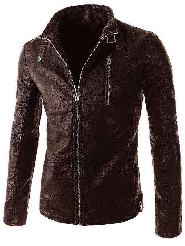 Outfits Stand Collar PU-Leather Belt Embellished Zipper Long Sleeve Jacket For Men
