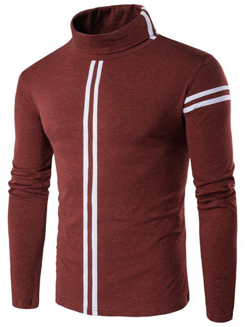 Roll Neck Varsity Stripe Long Sleeve T-ShirtMEN<br><br>Size: L; Color: OXIDE RED; Material: Cotton,Polyester; Sleeve Length: Full; Collar: Turtleneck; Style: Casual; Pattern Type: Striped; Season: Fall,Spring,Winter; Weight: 0.2845kg; Package Contents: 1 x T-Shirt;