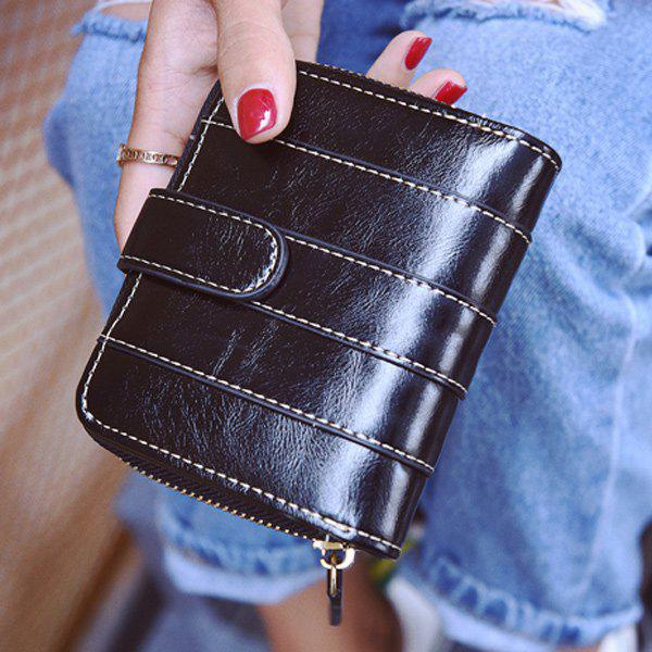 Unique Stitching Bi Fold Faux Leather Small Wallet