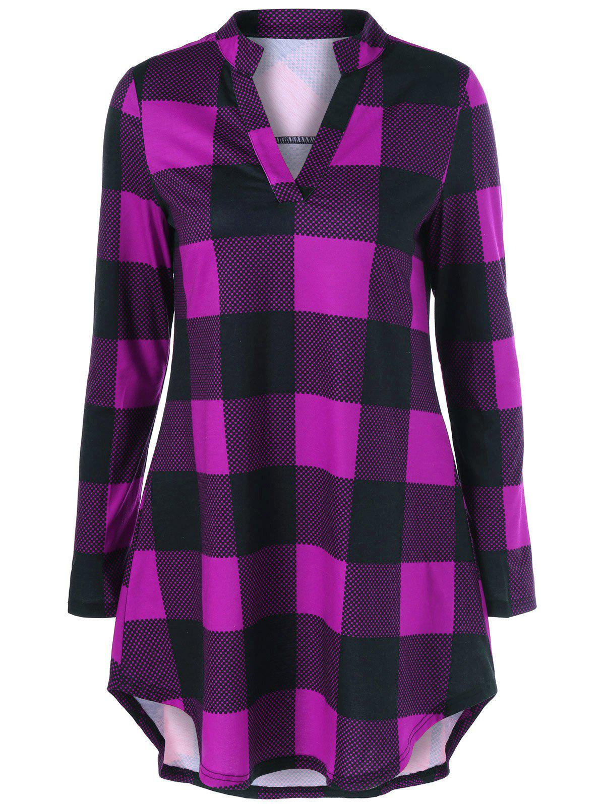 Split Neck Long Plaid Boyfriend T-ShirtWOMEN<br><br>Size: 4XL; Color: VIOLET ROSE; Material: Polyester,Spandex; Sleeve Length: Full; Collar: V-Neck; Style: Casual; Pattern Type: Plaid; Season: Fall,Spring; Weight: 0.2780kg; Package Contents: 1 x T-Shirt;