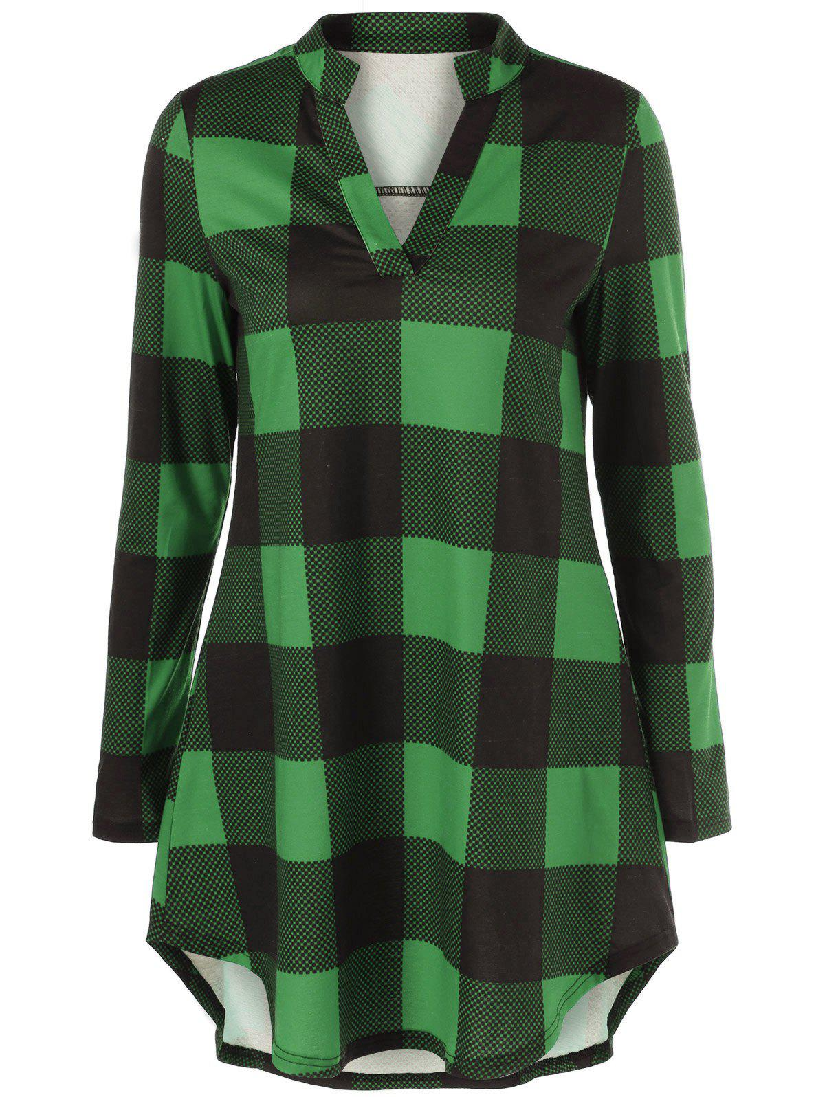 Split Neck Long Plaid Boyfriend T-ShirtWOMEN<br><br>Size: L; Color: GREEN; Material: Polyester,Spandex; Sleeve Length: Full; Collar: V-Neck; Style: Casual; Pattern Type: Plaid; Season: Fall,Spring; Weight: 0.2780kg; Package Contents: 1 x T-Shirt;