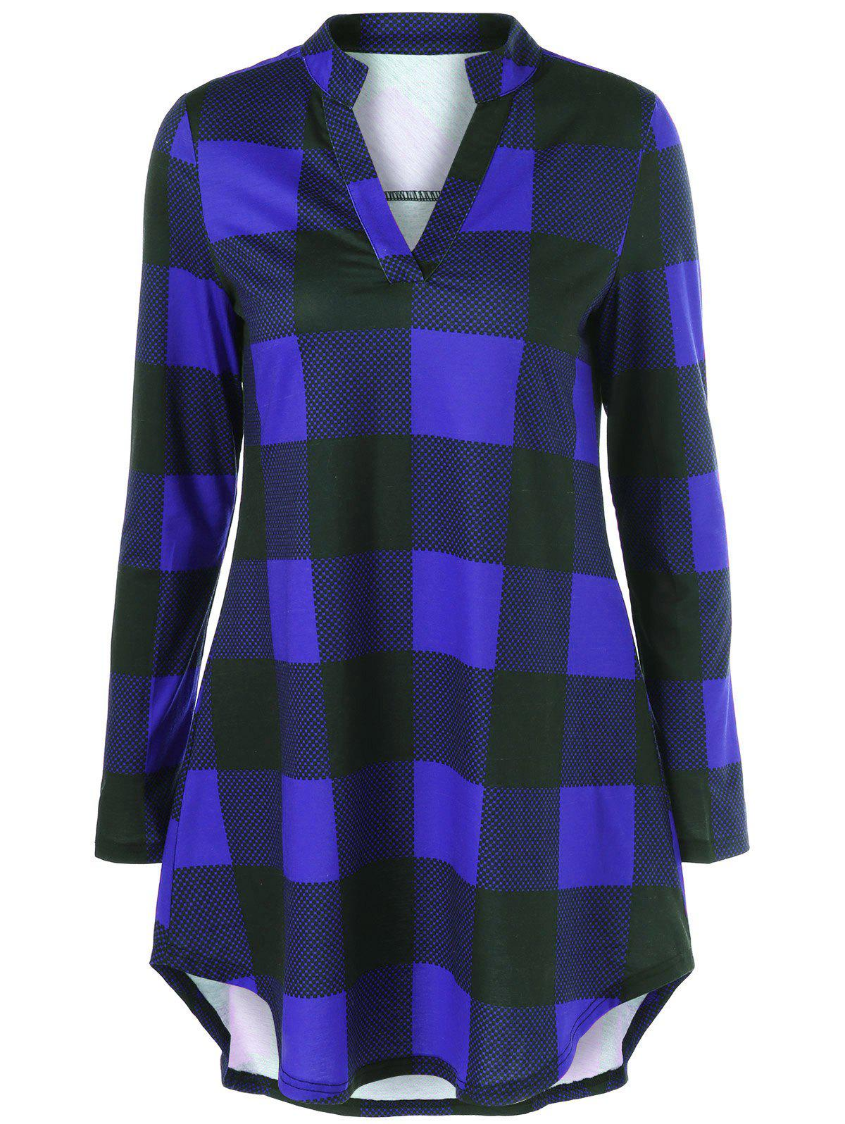 Split Neck Long Plaid Boyfriend T-ShirtWOMEN<br><br>Size: M; Color: BLUE; Material: Polyester,Spandex; Sleeve Length: Full; Collar: V-Neck; Style: Casual; Pattern Type: Plaid; Season: Fall,Spring; Weight: 0.2780kg; Package Contents: 1 x T-Shirt;