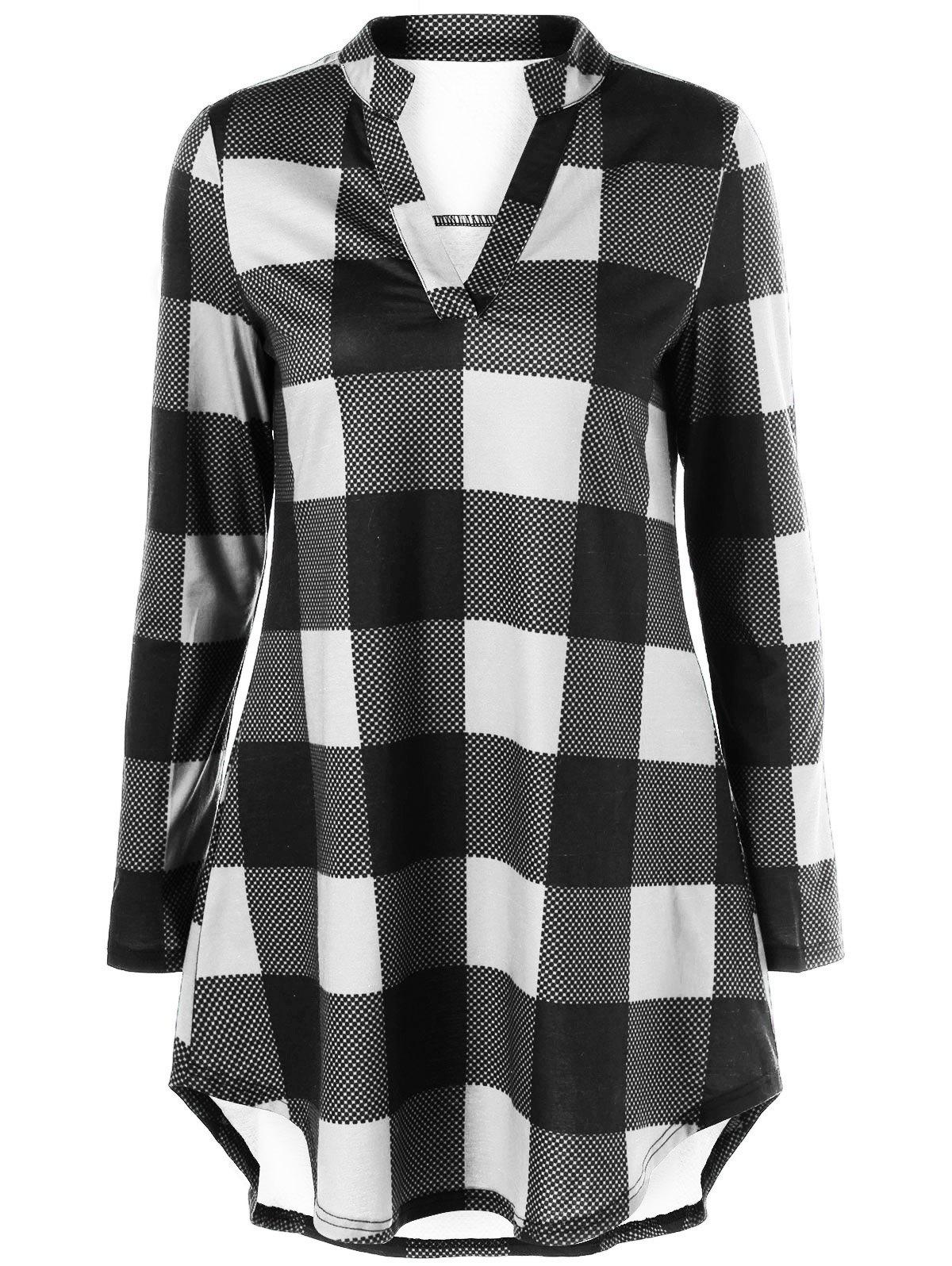 Split Neck Long Plaid Boyfriend T-ShirtWOMEN<br><br>Size: 2XL; Color: WHITE AND BLACK; Material: Polyester,Spandex; Sleeve Length: Full; Collar: V-Neck; Style: Casual; Pattern Type: Plaid; Season: Fall,Spring; Weight: 0.2780kg; Package Contents: 1 x T-Shirt;