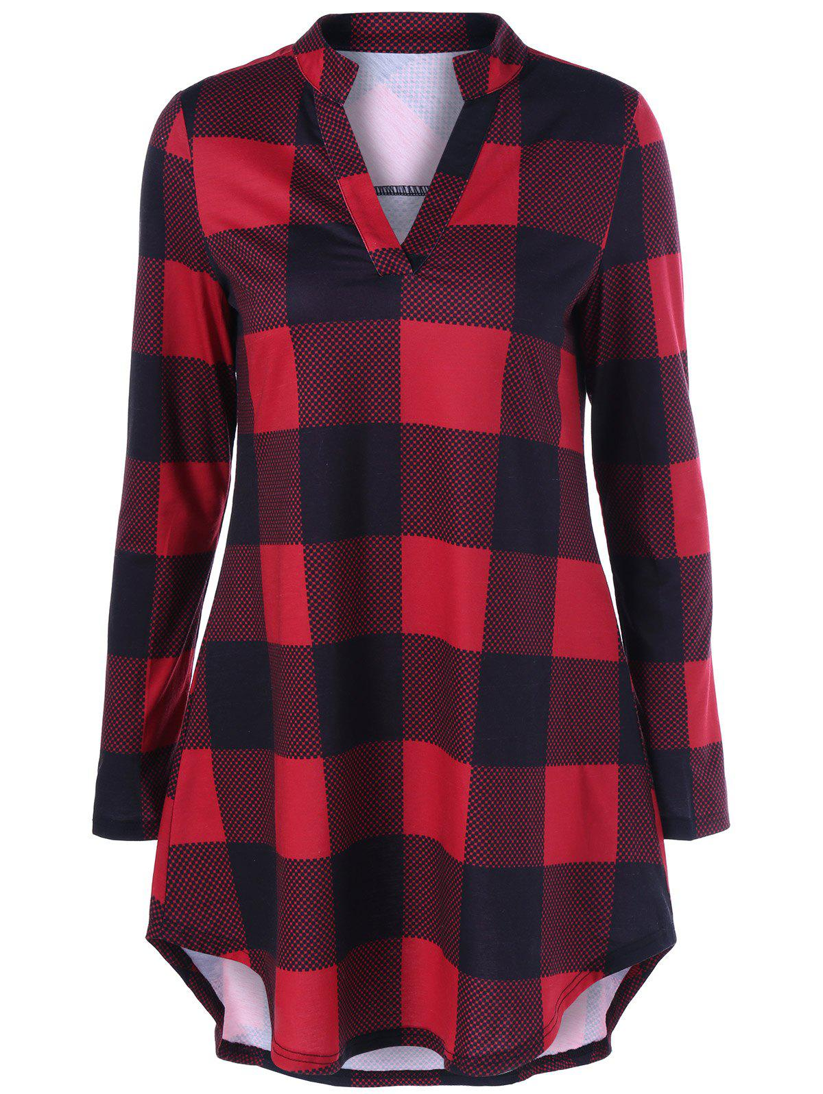 Split Neck Long Plaid Boyfriend T-ShirtWOMEN<br><br>Size: 3XL; Color: RED WITH BLACK; Material: Polyester,Spandex; Sleeve Length: Full; Collar: V-Neck; Style: Casual; Pattern Type: Plaid; Season: Fall,Spring; Weight: 0.2780kg; Package Contents: 1 x T-Shirt;