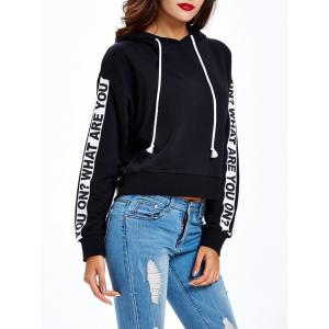 Graphic Letter Pullover Hoodie - BLACK XL