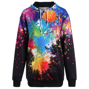 Splatter Paint Plus Size Hoodie - Black - 3xl