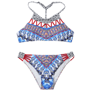 Tribal Print T Back Bikini Set -