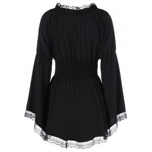 Bell Sleeve Blouse with Lace Trim -