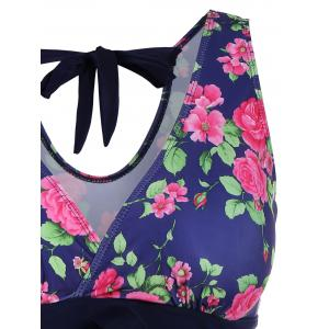 Retro Style V-Neck Rose Print Swimsuit For Women - BLUE 3XL