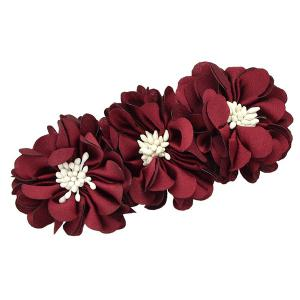 Floral Alloy Barrette - Wine Red