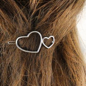 Double Heart Hollow Out Hairpin - Silver - S