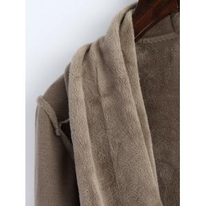 Open Front Asymmetrical Coat - KHAKI 2XL