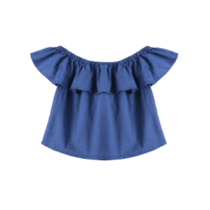 Ruffles Denim Off The Shoulder Top - DENIM BLUE S