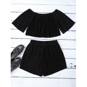 Velvet Off Shoulder Crop Top and Shorts - BLACK S