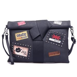 Patches Rivet Roll Top Clutch Bag