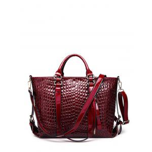 Embossing Zippers Tote Bag - Burgundy - 42