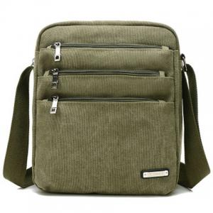 Canvas Multi Zippers Crossbody Bag