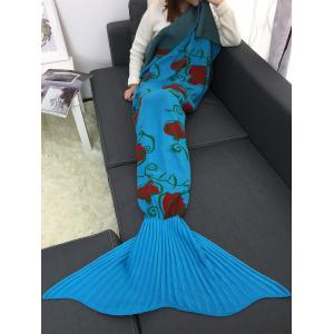 Gorgeous Floral Crochet Mermaid Tail Blanket - BLUE