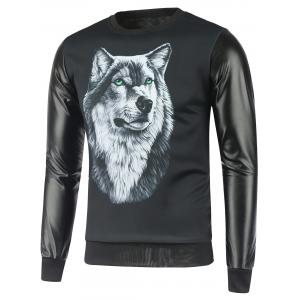 Faux Leather Insert Wolf Print Graphic Sweatshirts