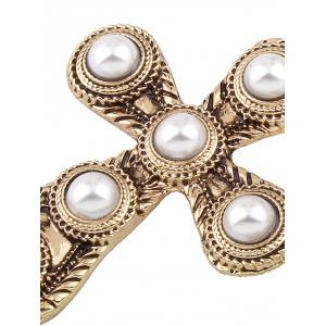Vintage Faux Pearl Cross Drop Earrings - CHAMPAGNE