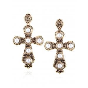 Vintage Faux Pearl Cross Drop Earrings
