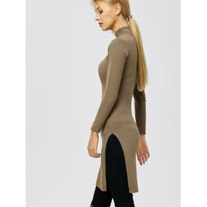 Mock Neck Side Slit Pullover Sweater - DARK KHAKI 2XL