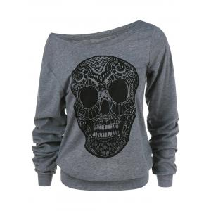 Skull Print Skew Collar Plus Size Sweatshirt - Gray - Xl