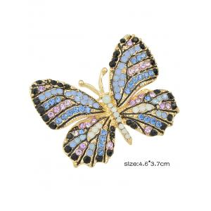 Broche papillon ornée diamants - Bleu