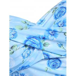 Refreshing Sweetheart Neck Short Sleeve One-Piece Floral Print Swimwear For Women -