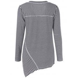 V Neck Stripe Asymmetrical Long Sleeve Top -