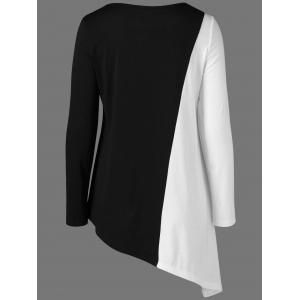 Long Sleeves Color Block Asymmetrical T-Shirt -