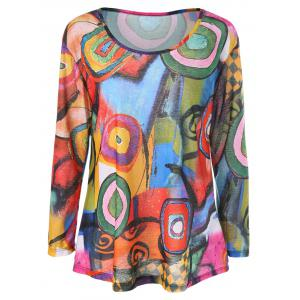 Color Block Print Long Sleeve Tee
