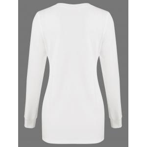 Butterfly Embroidered Fitted Long Sleeve Top - WHITE M