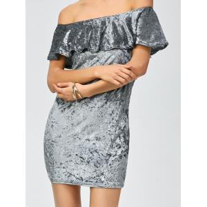 Off The Shoulder Velvet Party Dress - GRAY S