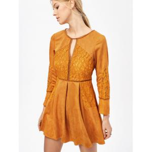 Cut Out Lace Insert Long Sleeve Dress