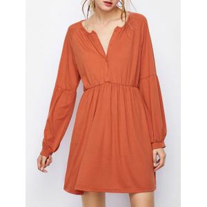 Pleated Lantern Long Sleeve Mini Dress