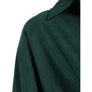 Belted Work Casual Shirt Dress with Sleeves - DEEP GREEN 2XL