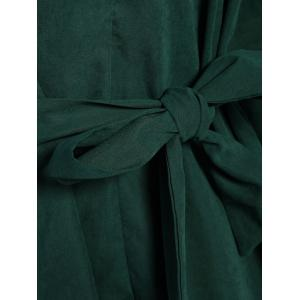 Belted Work Casual Shirt Dress with Sleeves - DEEP GREEN M