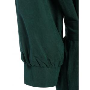 Belted Work Casual Shirt Dress with Sleeves - DEEP GREEN S