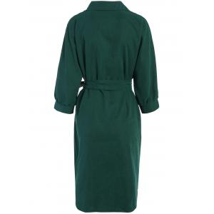 Belted Work Casual Shirt Dress - DEEP GREEN S
