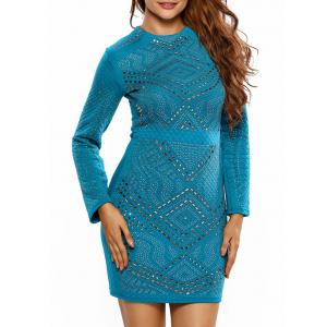 Rhinestone Mini Long Sleeve Bodycon Dress